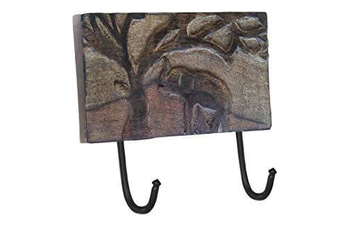 storeindya Ganci da parete in legno rustico Cappotto multiuso Cappellino portachiavi Sciarpa Borse Asciugamano Appendiabiti Robusto 2 ganci in metallo con elefante intagliato a mano Des