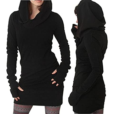 Blusas para Mujer, Oyedens Mujeres Otoño Invierno de manga larga de color puro capucha Hoodies Slim Fit Coat Mini falda