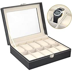 chinkyboo 10 Grid PU Leather Jewelry Watch Showcase Display Storage Case Box