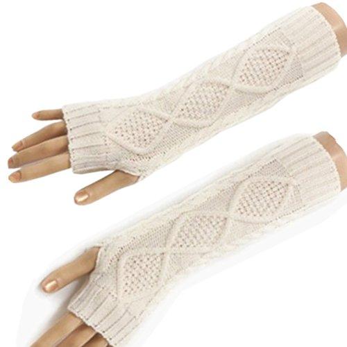HITOP Damen Accessory Trendige Quilted Thread gestrickte fingerlose Armstulpen Feinstrick lang Pulswärmer Handwärmer Stulpen (weiß)