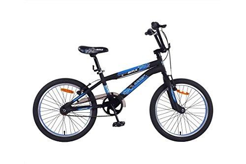 BICICLETA NIÑO 20 PULGADAS UMIT BMX FRENOS V BRAKE Y TRASERA CONTROPEDAL NEGRO AZUL 85% MONTADO