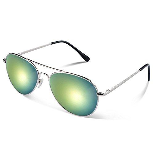 Duduma Lente Antirreflejante Completo UV400 Gafas de Sol con Diseño de Moda Retro Para Hombre y Para Mujer. (marco de plata con lente de oro)