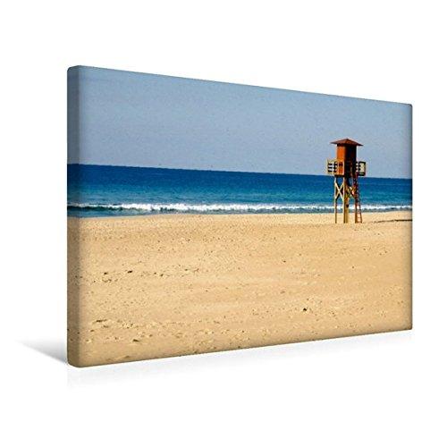 Premium Textil-Leinwand 45 cm x 30 cm quer, Atlantikstrand bei Cadiz | Wandbild, Bild auf Keilrahmen, Fertigbild auf echter Leinwand, Leinwanddruck: Weite Sandstraende am Atlantik (CALVENDO Orte)