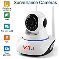 V.T.I. IP Dual Antenna WiFi Enabled Wireless Indoor Security Camera with Night Vision, 720P Resolution, Rotatable Video Remote Control View Via Smart Phone for Security Home Office - White