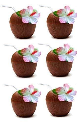 Quickdraw 6 x Kokosnuss Tassen mit Stroh Hawaii Strand Tropische Luau Hula Tiki Party