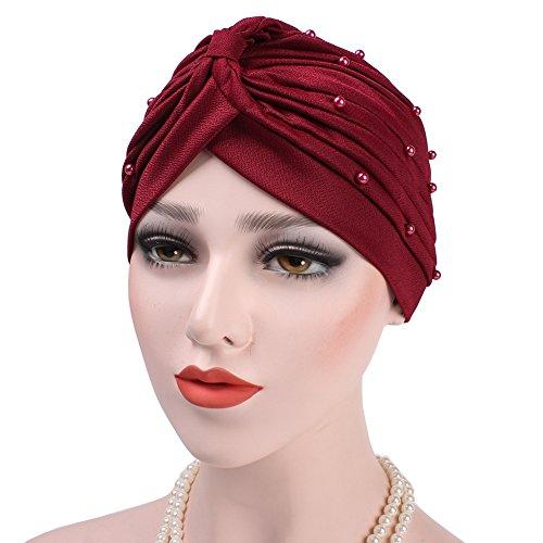 iShine Frauen Beanie mit Perle Dekoration Turban Falten Elegante Kapuze Elastisch Kopftuch Unicolor Mütze Einfachen Stil Band Stirnband Hut für Damen Mädchen Rot (Afrikanische Stirnband Für Frauen)
