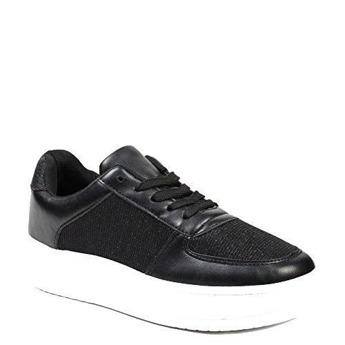 Ideal Shoes–Sneaker perlati e glitterate Leonor Nero