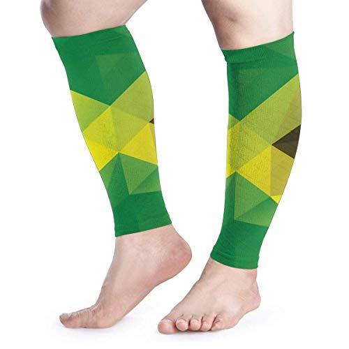 Bikofhd Jamaica Flag Triangular Polygonal Pattern Calf Compression Sleeves Men & Women Shin Support Calve Guards for Shin Splint Calf Pain Relief Circulation Recovery