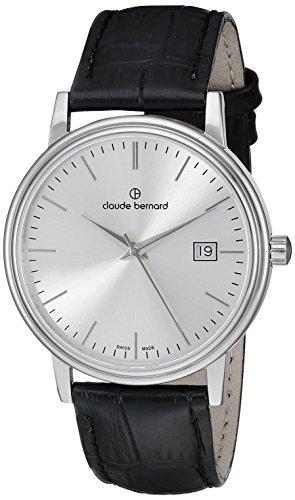Claude Bernard Men's 53007 3 AIN Classic Gents Analog Display Swiss Quartz Black Watch