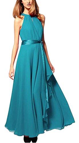 MILEEO Langes Kleid Damen Sommer unregelmäßiges großes Pendel Elegant Ärmellos Chiffon schulterfrei mit Gürtel Hellblau