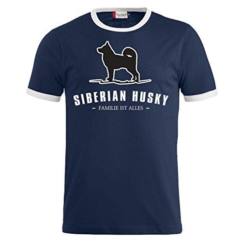 Männer und Herren T-Shirt Siberian Husky - Familie ist alles Größe S - 8XL Dunkelblau/Weiß