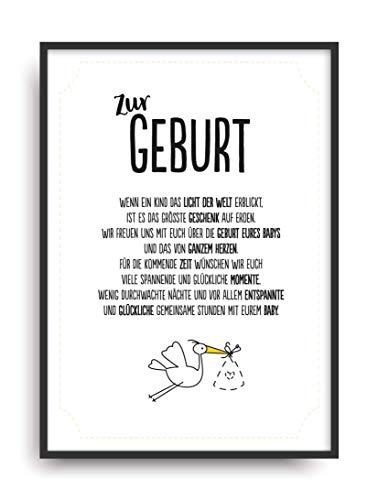 Geschenk Karte GEBURT Kunstdruck Kind Baby Eltern Auszeichnung Bild ohne Rahmen DIN A4