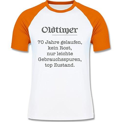 Geburtstag - 70 Jahre Oldtimer Fun Geschenk - zweifarbiges Baseballshirt für Männer Weiß/Orange