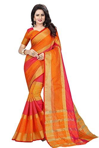 Ecolors Fab Women's Cotton Saree with Blouse Piece (Sayan_Kota_Saree) (Pink)