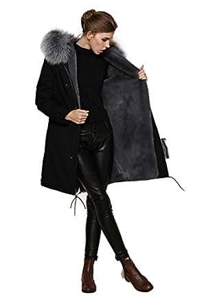 Giacca Parka da donna, con cappuccio in 100% vera pelliccia Grau 48