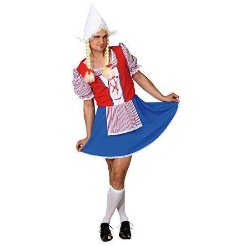 Material Frau Kostüm - Amakando Männerballett Frau Antje Holländerin Kostüm Herren XL 58/60 Männerkostüm Niederlande Frauenkostüm für Männer Junggesellenabschied Kostüm Herren lustiges JGA Outfit Mann