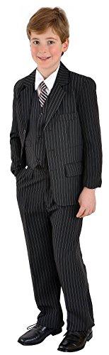 5 Teiliger Kinderanzug Jungen Kommunionsanzug Babyanzug Taufanzug Anzug schwarz mit Nadelstreifen -