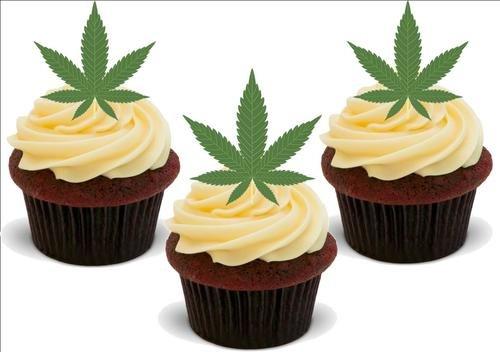 Marihuana Hash Blatt Gras -12 essbare hochwertige stehende Waffeln Kuchen Toppers, Marajuana Hash Leaf Grass - 12 Standup Premium Wafer Cake Toppers -