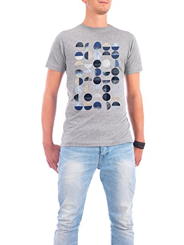 "Design T-Shirt Männer Continental Cotton ""Geometric Circles"" - stylisches Shirt Geometrie von Linsay Macdonald Grau"