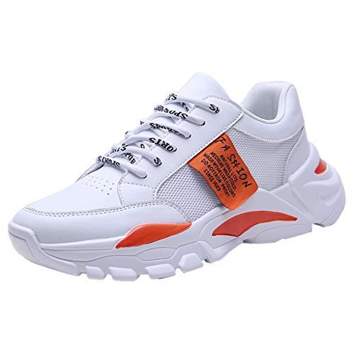 CUTUDE Herren Sneaker Deodorant rutschfest Weicher Boden Schuhe Turnschuhe Männer Laufschuhe Reisen Freizeitschuhe Leicht Bequem Sportschuhe Wanderschuhe (Orange, 42 EU)