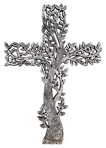 Old River Outdoors Wandkreuz, Lebensbaum, rustikal, Antik-Silber-Finish, dekorative Spirituelle Kunst Skulptur
