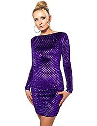 Lili Damen Partykleid Abendkleid Kurz Minikleid Samt Optik Rücken Ausschnitt Langarm