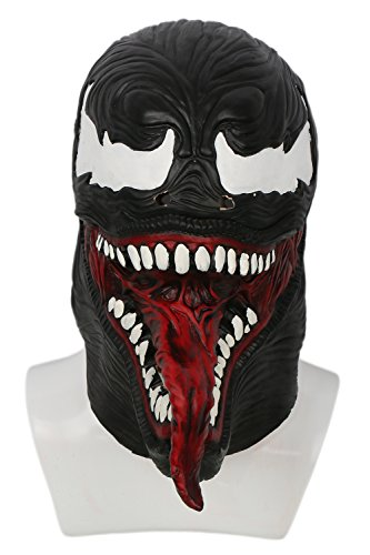 B1 Kostüm (Xcoser Cosplay Kostüm Black & Red Latex Haube Maske Halloween Verrücktes Kleid)