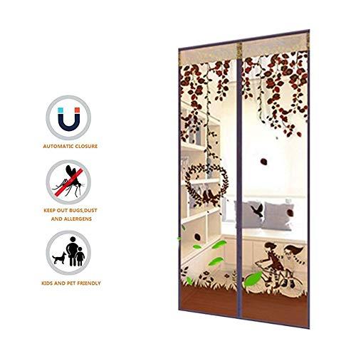 ZMYLOVE Fahrrad tür vorhänge, Magnetische Fliegengitter Tür Insekt Moskito Tür Bildschirm Automatisch Schließen Polyester Magie Paste Vorhänge Super Ruhig Schlafzimmer Vorhang,C,width100*long210cm - Insect Guard
