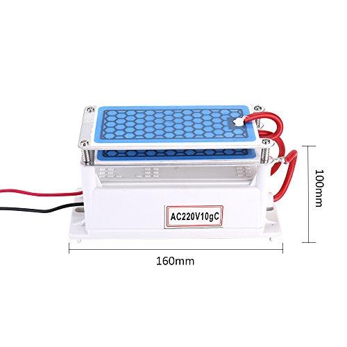 Roeam Tragbare 10g / h Keramik Ozon Generator Doppel Integrierte Platte Ozonisator Wasser Luftreiniger Für Chemische Fabrik,Trockner, Geschirrspüler, elektronischen Schuhschrank, Luftreiniger -