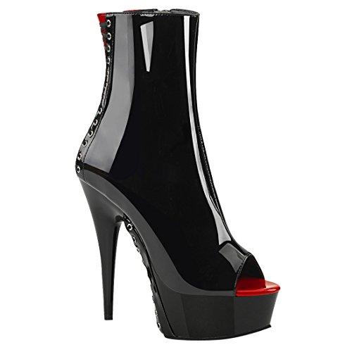 Pleaser, Damen Stiefel & Stiefeletten Blk-Red Pat/Blk