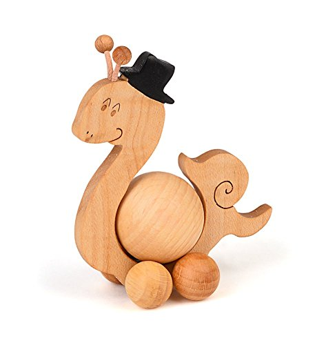 Decorative figure Animal Roll Snail wooden beech natural 10,5 x 8,5 cm high, with 4 cm Ball, wooden Deko Schie betier Rolli as a gift Birthday Child, hand of the black forest