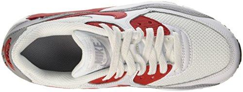 Nike Air Max 90 Mesh Gs, Entraînement de course garçon Blanc Cassé (White/University Red/Wolf Grey/Black)