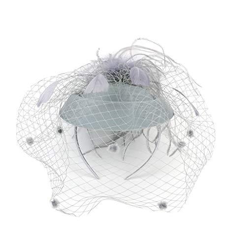 CANDLLY Stirnband Damen, Kopfbedeckung Zubehör Kopfschmuck Federn der Frauen Fascinators Hut Haarnadel Cocktail Headwear Pillbox Hut(Grau,One Size