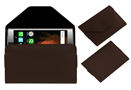 Acm Premium Pouch Case For Micromax Canvas 6 E485 Flip Flap Cover Brown  available at amazon for Rs.179