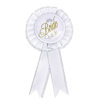 Bride-To-Be Badge Hen Night Bachelorette Party Accessory White