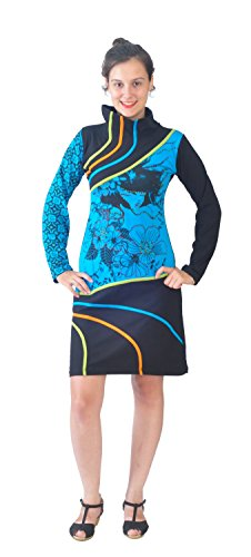 Mesdames manches pleine robe col haut avec broderie Bleu