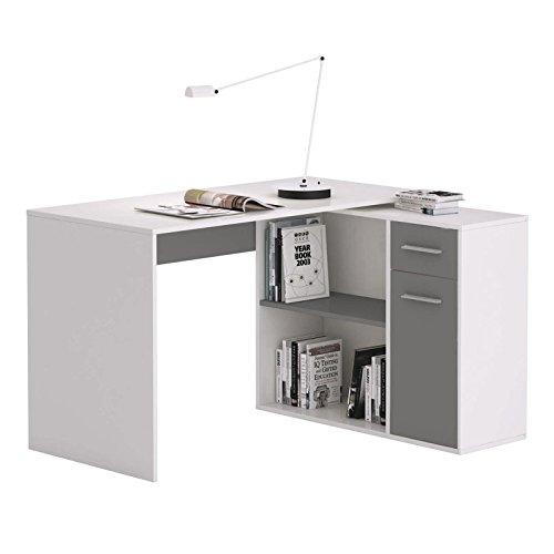 CARO-Möbel Eckschreibtisch Lena Schreibtisch Computertisch in Weiß/Grau, mit Regal, 120 x 75 x 91,5 cm