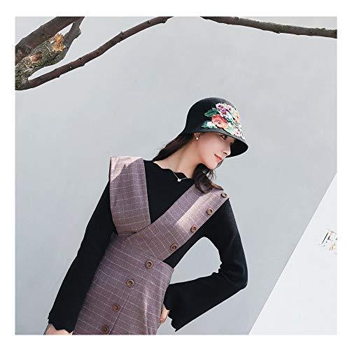 SHENLIJUAN 2018 Schurwollfilzhut National Style Fedoras handgehäkelte Pfingstrose Floral Dome Eimer Fedora Hüte für Frauen (Farbe : Schwarz, Größe : 56-58CM) Floral Dome