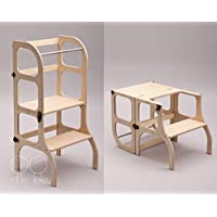 Descapotable Torre de Aprendizaje/Mesa Step'n'Sit, all-in-one, Montessori learning tower - DE MADERA/antique BRASS clasps