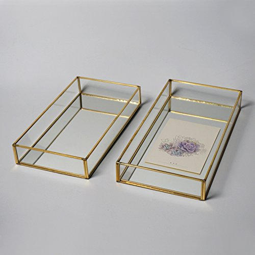 DADAO-Bandeja, caja de vidrio, joyería, vidrio bandeja bandeja,Golden