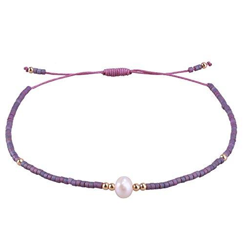C.QUAN CHI Gewebte Freundschaft Armband Frau String Natürlich Perle Sead Perlen Wachs Seil Handgefertigt Geflochten Einstellbar Armband Frau Geschenke (String Armband Freundschaft)