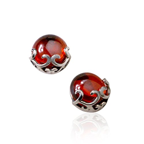 ORKST 925 Silber Thai Silber Frauen Rubin Smaragd Ohrstecker, Damen Ohrringe,Red