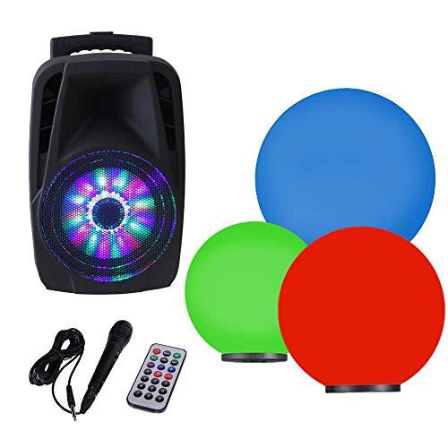 Kugelleuchten 3er Party Set + RGB Farbwechsel + mobile Soundanlage Bluetooth 300W + Mikrofon  Gartenbeleuchtung 2x20 cm, 1x30cm Ø, Außenleuchten, weiße Gartenlampen
