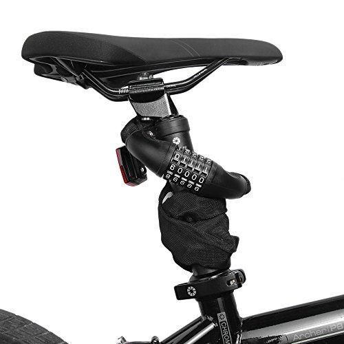 Fahrrad Kettenschloss, marsboy Fahrradschloss 90 cm lang Rahmenschutz, 5-stellig Zahlenschloss für Fahrrad Schwarz. - 5