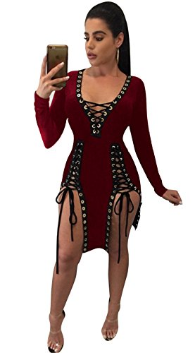 Femmes Sexy V-cou à manches longues Drawsting Lacing Hollow Nightclub Dress Clubwear Rouge