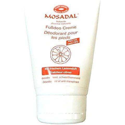 Mosadal Fussdeo Crema 100ml - Cosmética natural PEG-libre, con fresco Esencia de limón, desodorizante, resistente al