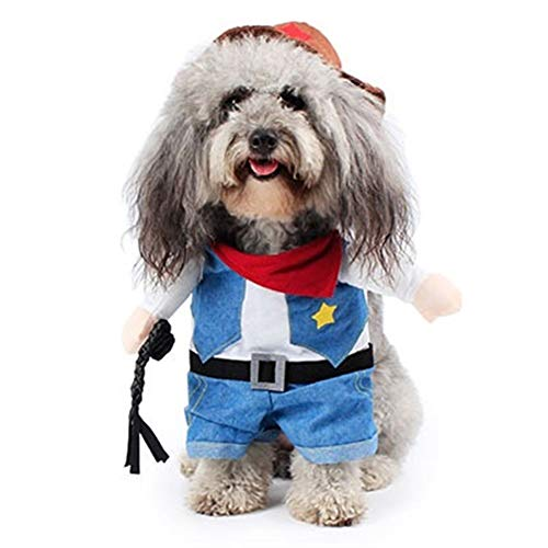 7°MR Hundekleidung Lustige Haustierkleidung West Cowboy Cat Kostüm Puppy Small Dog Festival Kostüm Standing Up Kätzchen Katze Halloween Party Kleidung S-XL (Color : Blue, Size : L (for Pets 5kg))