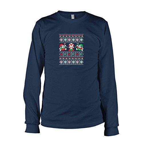 TEXLAB - Toad Christmas - Herren Langarm T-Shirt, Größe XL, dunkelblau (Fliegenpilz Kostüm Mario)