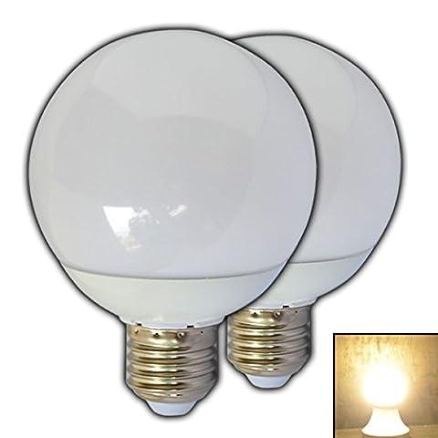 2x Stück - E27 LED Kugelbirne 9 Watt Matt warmweiß 2700K Ballbirne Ball Globus Glühbirne Lampe Leuchte Energiesparlampe Lampe Leuchtmittel