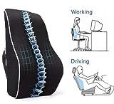 EPMIC Almohada Ortopédica Para Espalda , Cojín De Apoyo Lumbar, Almohada De Maternidad, Almohada De Viaje, Para Coche, Hogar Y Oficina, En Negro
